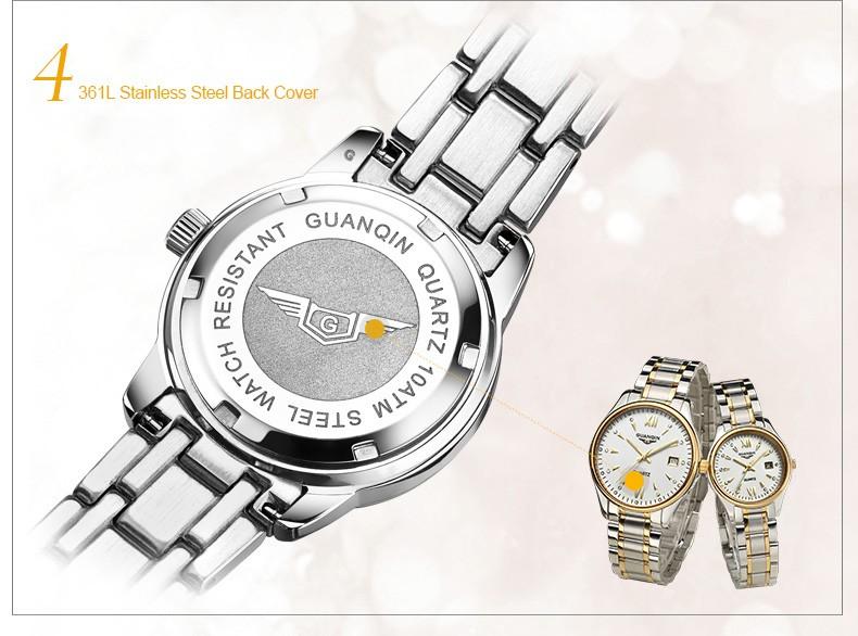 Guanqin женщин календарь горный хрусталь световой кварцевые часы с 30 м водонепроницаемость