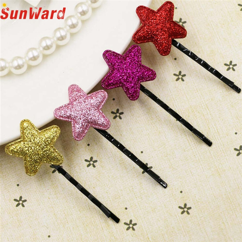 Girl Hairpin SUNWARD delicate Lovely hair accessories Cute Sequins Pentagram Hair Clips Child girl handwear W85(China (Mainland))