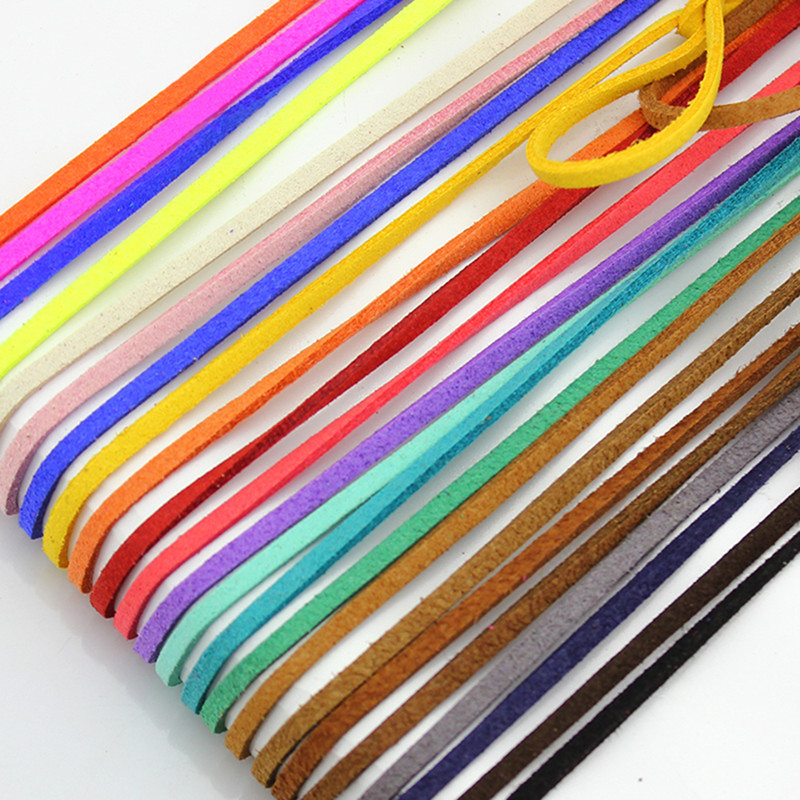 1M /Lot 2.6mm Mulit-Colors Leather Cords DIY Suede Rope Thread String Lace for Clothes Shoes Jewelry Making Findings(China (Mainland))