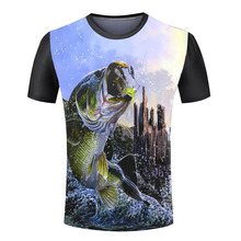 Hot Sale Men's New Fashion Creative Cool 3d T-Shirt fish Animal Printed Round Neck Shirts New Arrival male tops