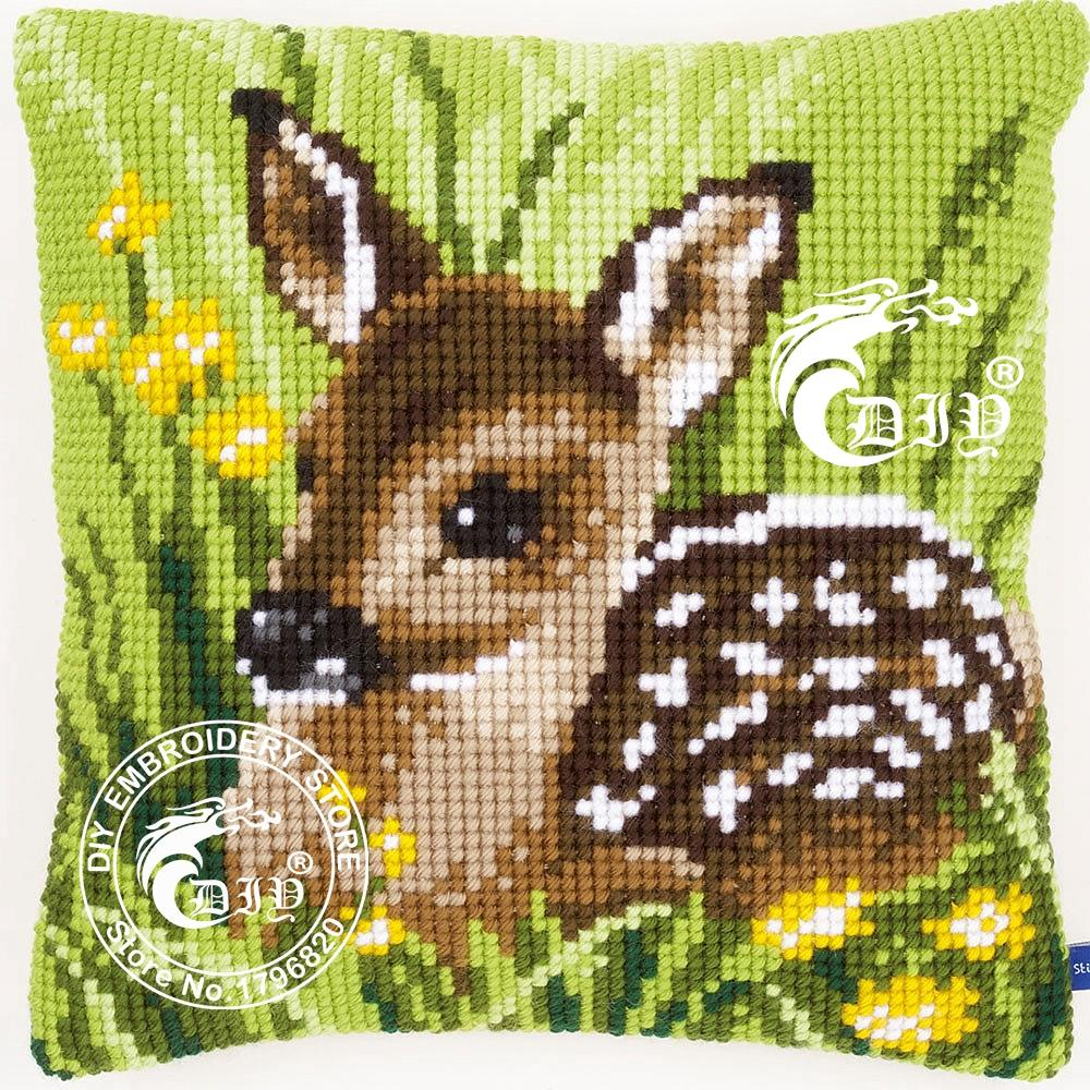 Cross Stitch Cushion Kit Diy Chunky Pillow Case Yarn Embroidery Coussin LITTLE DEER Decorative Pillows Cojines Needlework Crafts(China (Mainland))