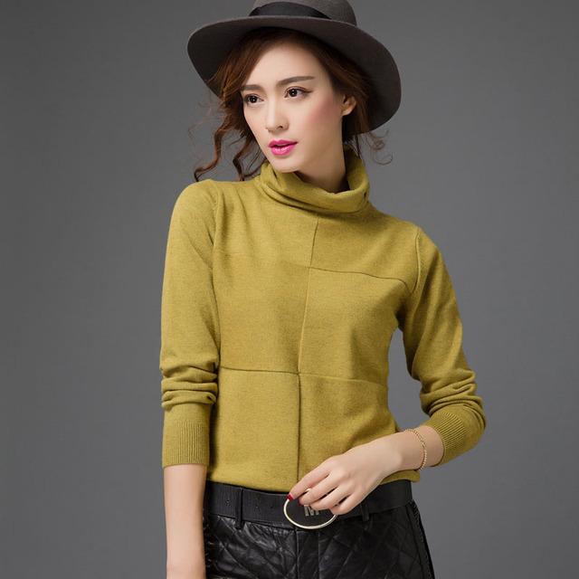 Новый высокое качество мода женщины водолазка основной трикотажные рубашки женщин ...