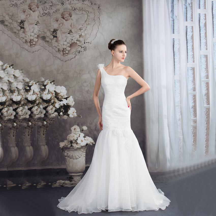 Elegant One Shoulder White Organza Mermaid Wedding Dresses Custom Made Bridal