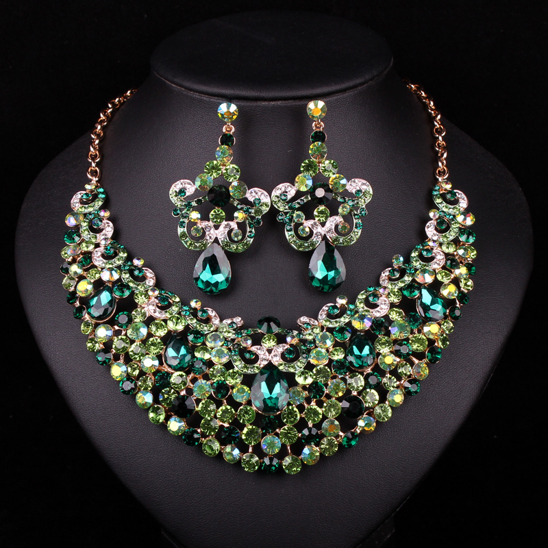 Fashion gold plated necklace earring indian bridal jewelry for Costume jewelry for evening gowns