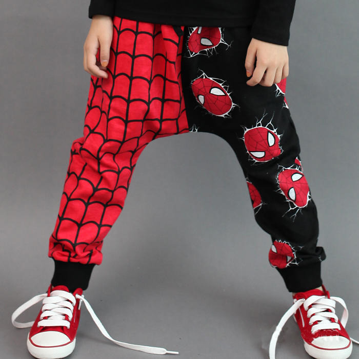 Free shipping Retail 2015 New Unique Design Super Spider man Kids Girls Boys Harem Pants Trousers