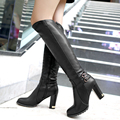 Winter Warm Faux Fur Women Knee High Boots Soft Leather Fashion Side Zippers New Female Thick