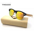 2016 Free Shipping Half PC Frame Metal Wire Bamboo Wooden Sunglasses 100 Brand New Eyeglasses