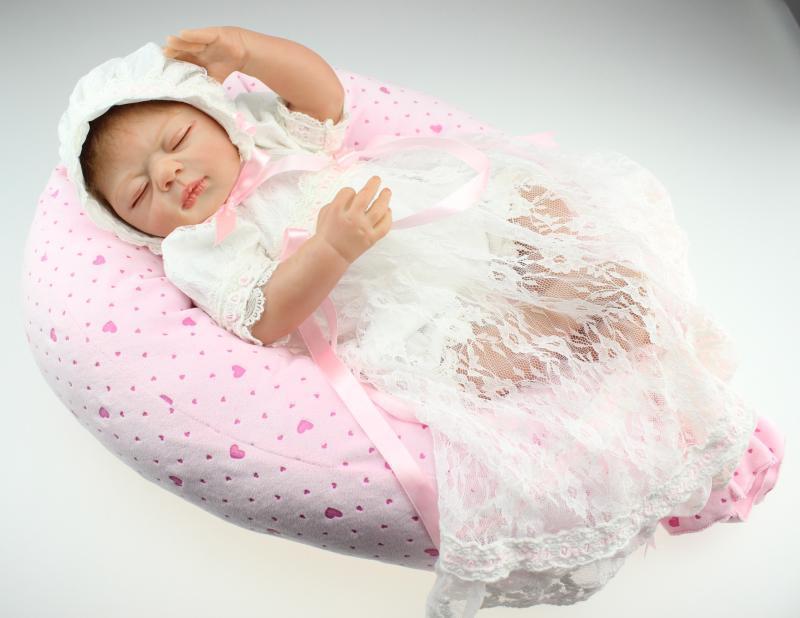 22 Inch Silicone Doll Baby Reborn Realistic Baby Girl Dolls Sleeping Newborn Baby Doll For Girls Birthday Gift(China (Mainland))