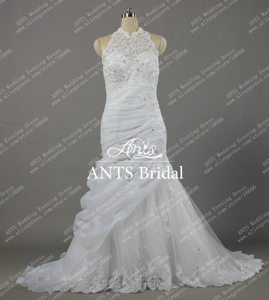 2014 formal elegant corset sheer mermaid lace wedding dresses bridal gowns halter high neck for Mermaid halter wedding dresses