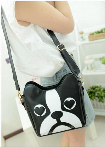2015 New /Black and white hit color /tide bag /retro fashion handbags women / sweet cartoon cute little dog pack / free shipping(China (Mainland))
