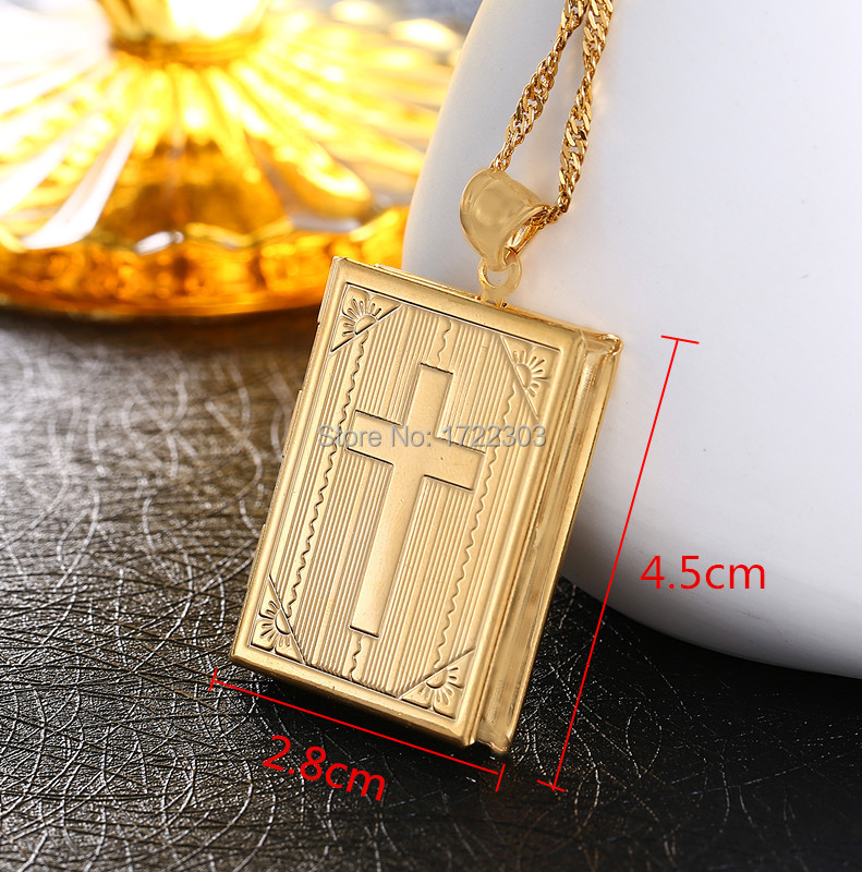New Fashion Unisex Jesus Jewelry 18K Gold Plated Cross Pendant Book Cross Jesus Pendant Necklace 50cm/60cm(China (Mainland))