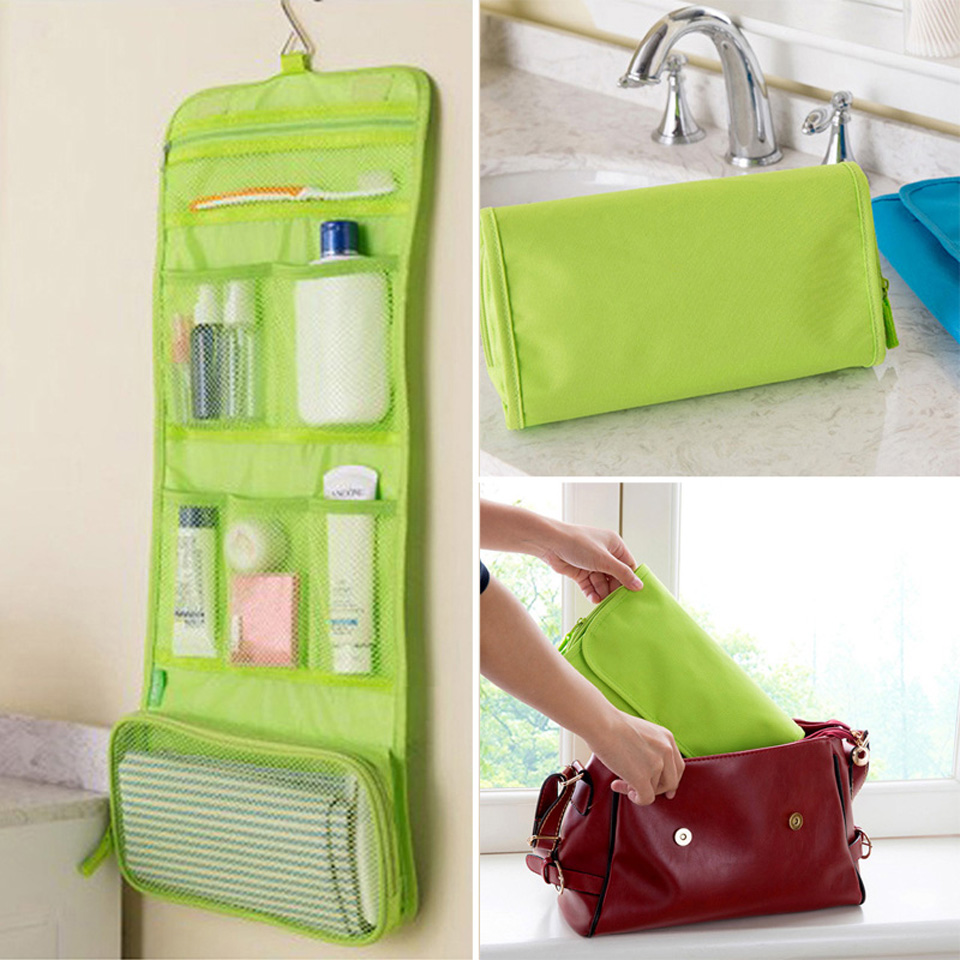 BEST Multifunctional Storage Bag Waterproof Travel Toiletry Wash Cosmetic Makeup Hanging Bag Storage Case Free Shipping(China (Mainland))