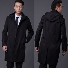 2016 latest single breasted hooded plus size trench coat for mens fall overcoat England mens black coat trench male outwear gift(China (Mainland))