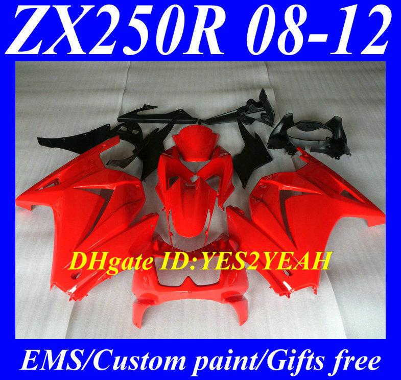 Motorcycle Fairing kit KAWASAKI Ninja ZX250R 08-12 ZX-250R 2008 2012 ZX 250R EX250 08 09 10 11 12 Hot red Fairings - FAIRING KIT Co. Ltd store