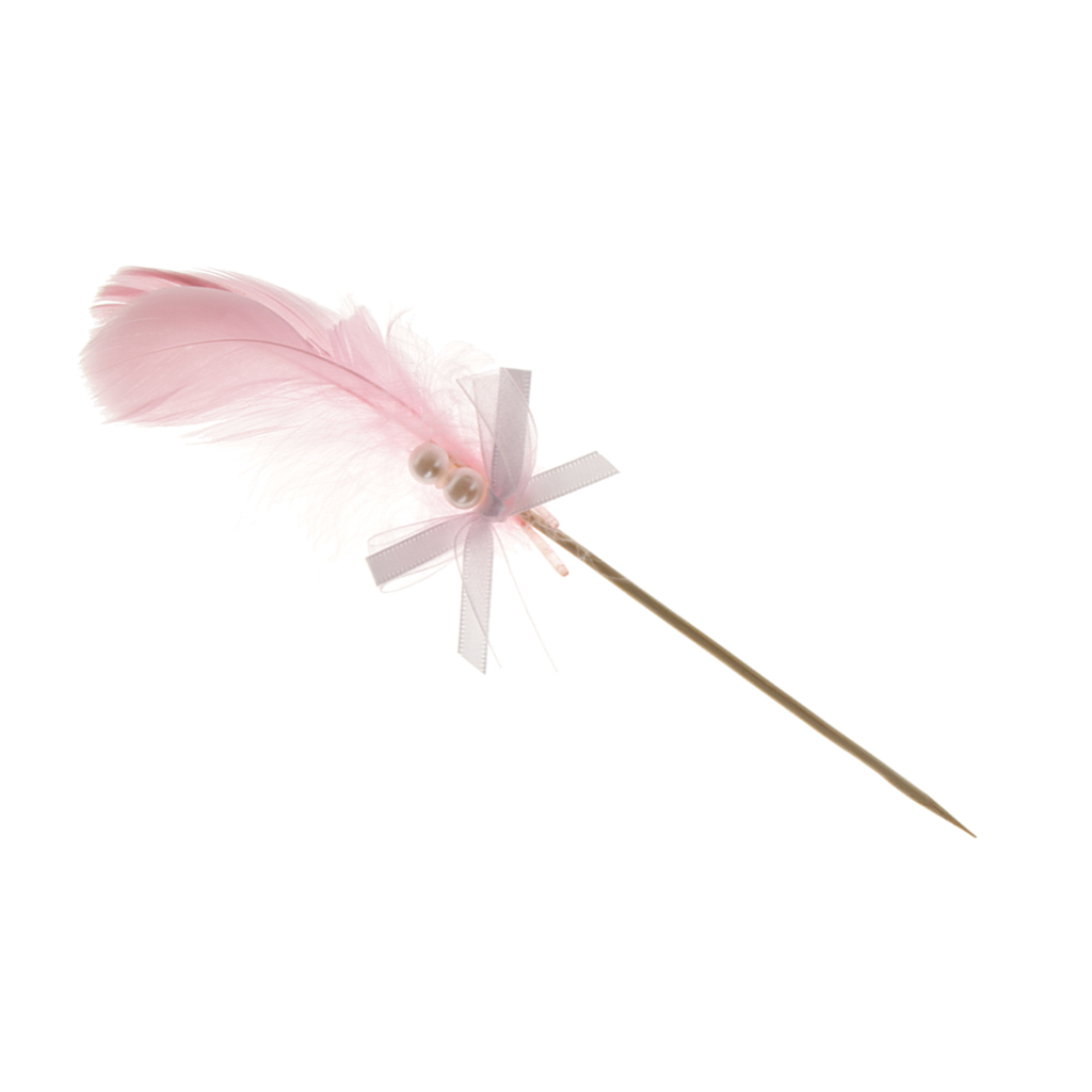 Hand-crafted Cake Topper Insert Card Sticks with Ribbon Feather Birthday Party Cake Centerpieces Decor Pink