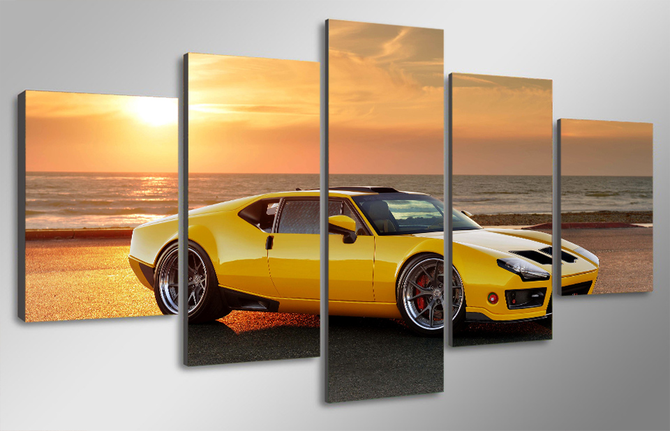 5 pcs with wood framed hd printed yellow luxury cars painting childrens room decor print poster picture canvas framed wall art