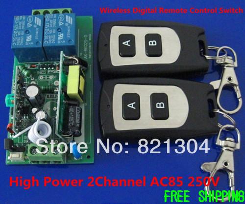 Power AC110V 220V 10A 2Channel AC85 250V RF Wireless Digital Remote Control Switch System 1 Receiver
