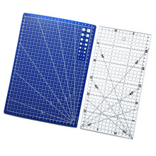 Free Shipping 2pcs Acrylic And Plastic Materials 15 * 30cm Patchwork Ruler And A Blue A4 Cutting Plate(China (Mainland))