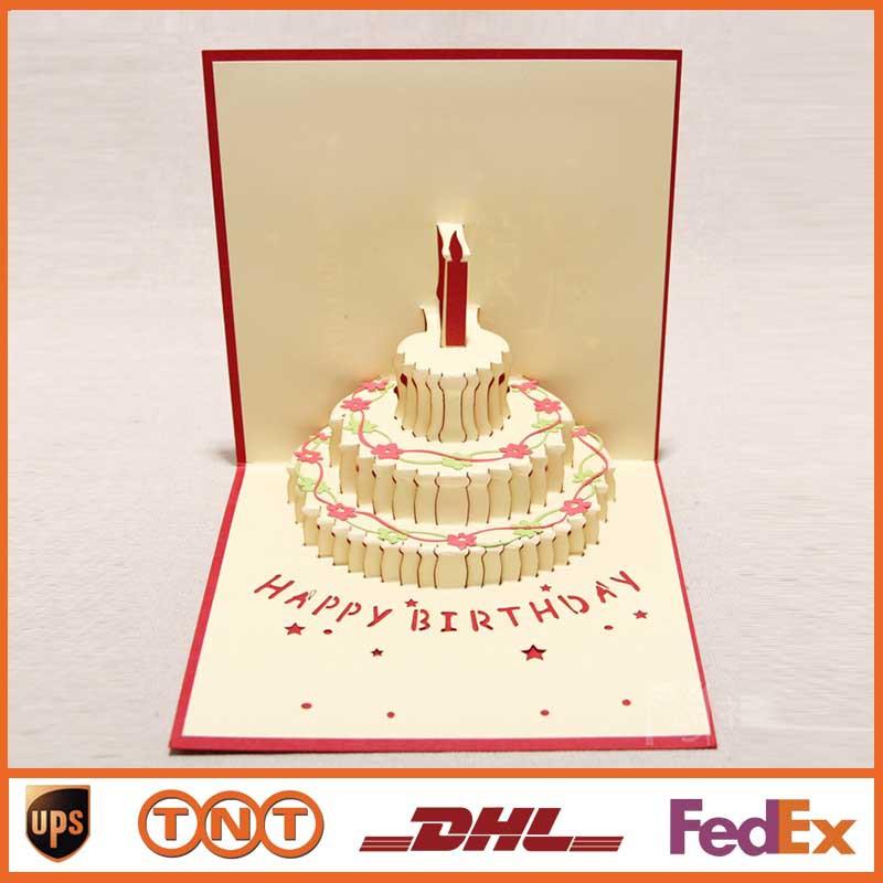 Greeting Cards Handmade Kirigami Origami 3D Pop UP Birthday Cake Cards ...
