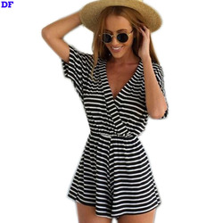 Striped Jumpsuit Cotton Rompers Womens Jumpsuit 2015 New Casual Bodysuit Black Macacao Feminino Mono Mujer Big Size Jumpsuits XL