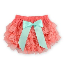 Blue Bow Newborn Shorts,Lovely Toddler Shorts,Satin Panties,Chiffon Diaper Cover,Lace Bloomers Baby Shorts Baby Clothing,#7G1005(China (Mainland))
