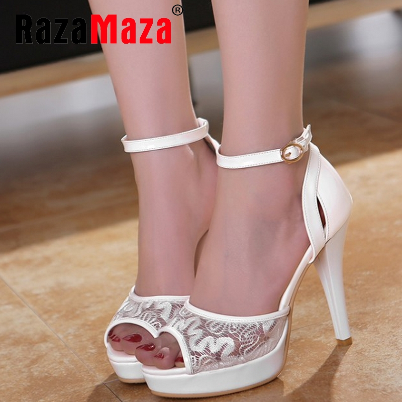 women lace ankle strap open peep toe thin high heel sandals sexy fashion ladies heeled footwear heels shoes size 32-44 P18392<br><br>Aliexpress