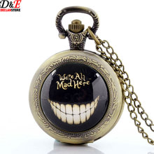 Vintage Glass Art Alice In Wonderland Pocket Watch Skeleton Were All Mad Here Bronze Necklace Steampunk Men pendant P224