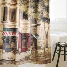 Bath Shower Curtain 183x183cm Polyester Fashion Reminisced Waterproof Coffee House Bathroom Shower Curtains 1PC free shipping(China (Mainland))