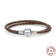 925 סטרלינג כסף אמיתי עור ארוך שרשרת מתכוונן Homme Femme צמידי עבור נשים עם נחש אבזם תכשיטי WEUS908(China)