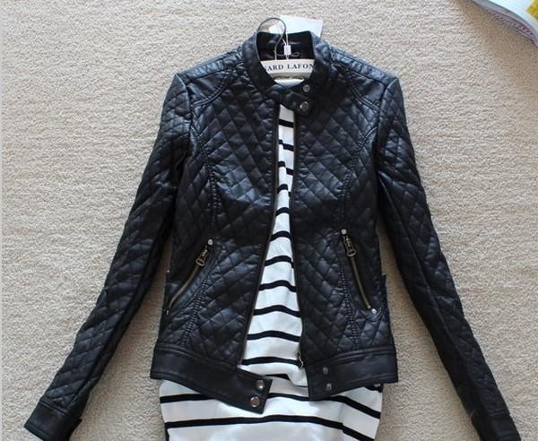 2015 Big Brand Fashion Women's Slim Motorcycle Leather Jacket Autumn Winter Women PU Leather Trench Coat FWO10909(China (Mainland))