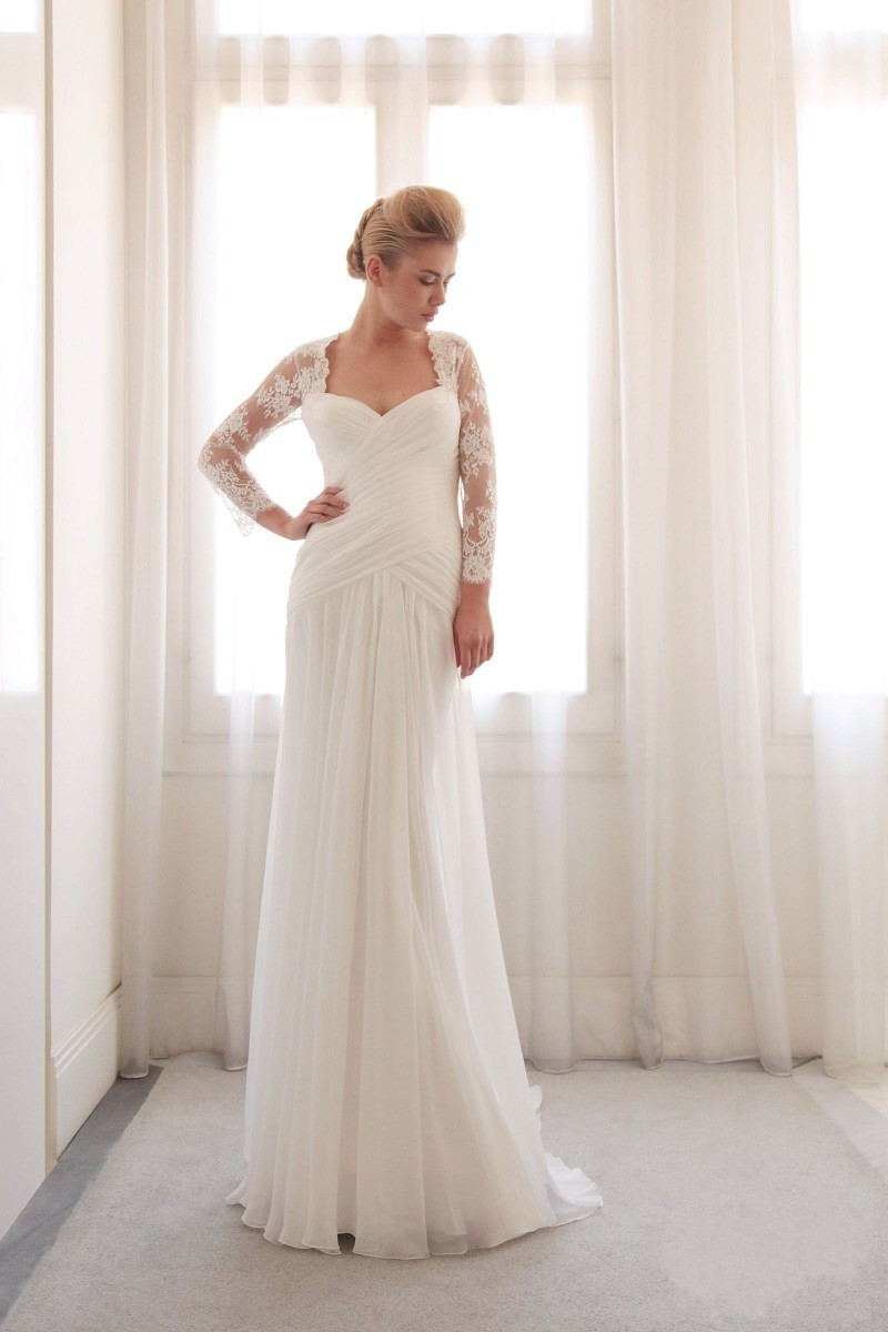 2015 lace long sleeve boho vintage wedding dresses beach for Long sleeve chiffon wedding dress