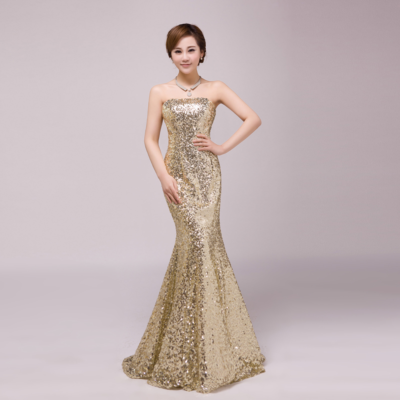 Gold sequin mermaid evening dress 2015 cheap elegant sexy for Cheap formal dresses for wedding guests