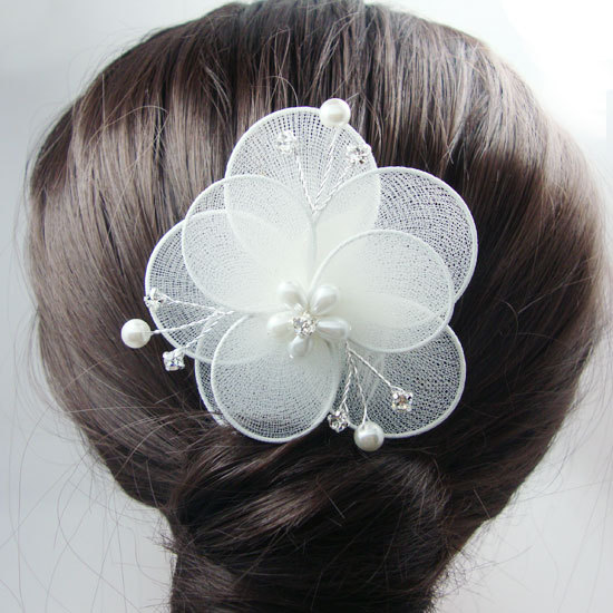 Bride Wedding Hair Accessories Fashion Double Flower Sheer Decorated Hair Comb Clear Rhinestones Crystal(China (Mainland))