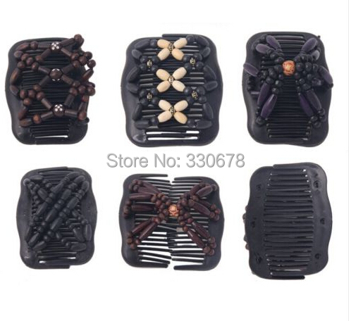 Vintage African Butterfly Magic EZ Beads Wood Stretchy Hair Clip Slide Combs New Hair Accessories(China (Mainland))