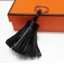 Personalized genuine leather tassel Key chain silver ring Women bag charm accessory handbag ornamet gift keychain new(China (Mainland))