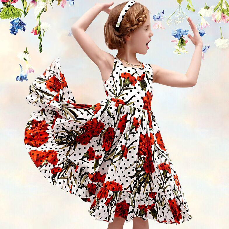 Polka Dot Floral Dress Girls Dress Summer Cotton Fashion Cinderella Dress Pastoral Girl Dress Childrens clothing A Line(China (Mainland))