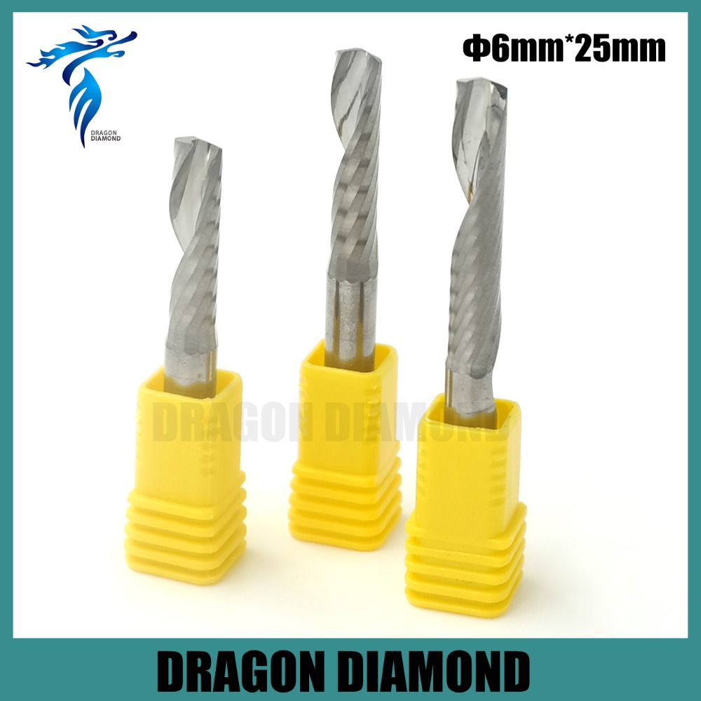 High Quality 5pcs/lot 6*25mm Single Flute Carbide CNC Router Bits Tools, Mill Spiral Cutter, Cutting Tools Free Shipping(China (Mainland))