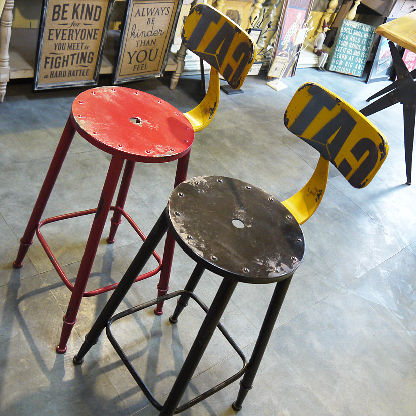 American French country to do the old retro metal bar stool high chairs<br>