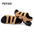 2017 zapatillas hombre new gladiator sandals casual men shoes summer sandalias leather sandal freeshipping