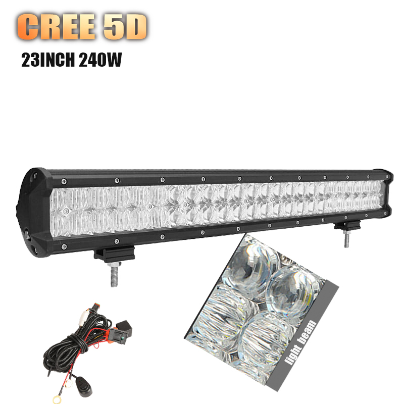 5D CREE 23inch 240w LED Work light bar straight combo beam led bar for Offroad camp trailer truck 4x4 SUV ATV auto lamp 12V 24V(China (Mainland))