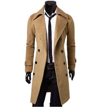 2014 New Fashion Double-breasted Winter Men Trench Coats Long Slim Fashion Styish woolen men  trench  for  3 colors!!(China (Mainland))