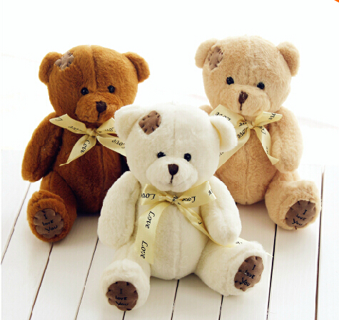 1Piece 18cm High Quality Super Kawaii Cute Lovely Teddy Bear Plush Toys & Stuffed Dolls Wedding Decoration Kids Toys Baby Gift(China (Mainland))