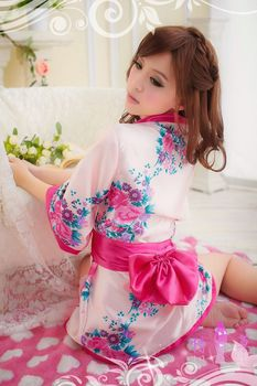 Lingerie pink printing kimono dress uniforms temptations meat powder kimono appeal, appeal the princess dress