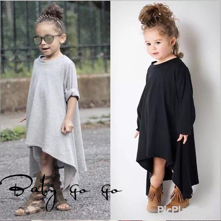 Baby go go Baby girls casual dress. Black gray long sleeve autumn dresses for kids girl. Baby clothing cotton  2-6Y.