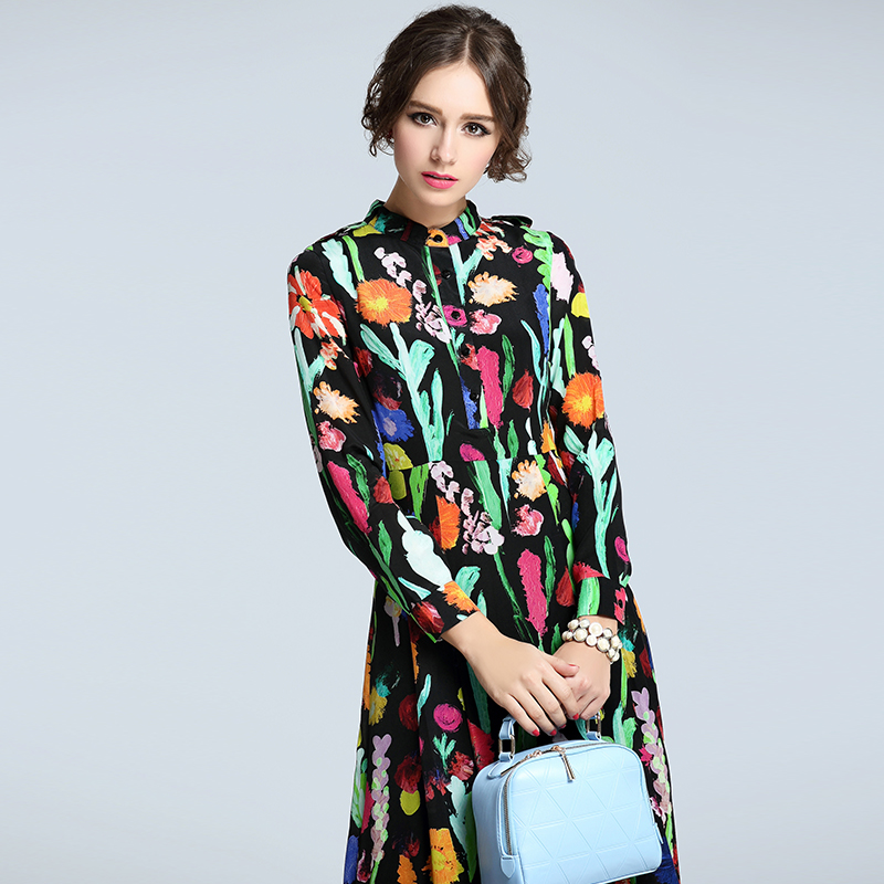 2016 spring high grade heavy silk dress fashion big swing long sleeved dress