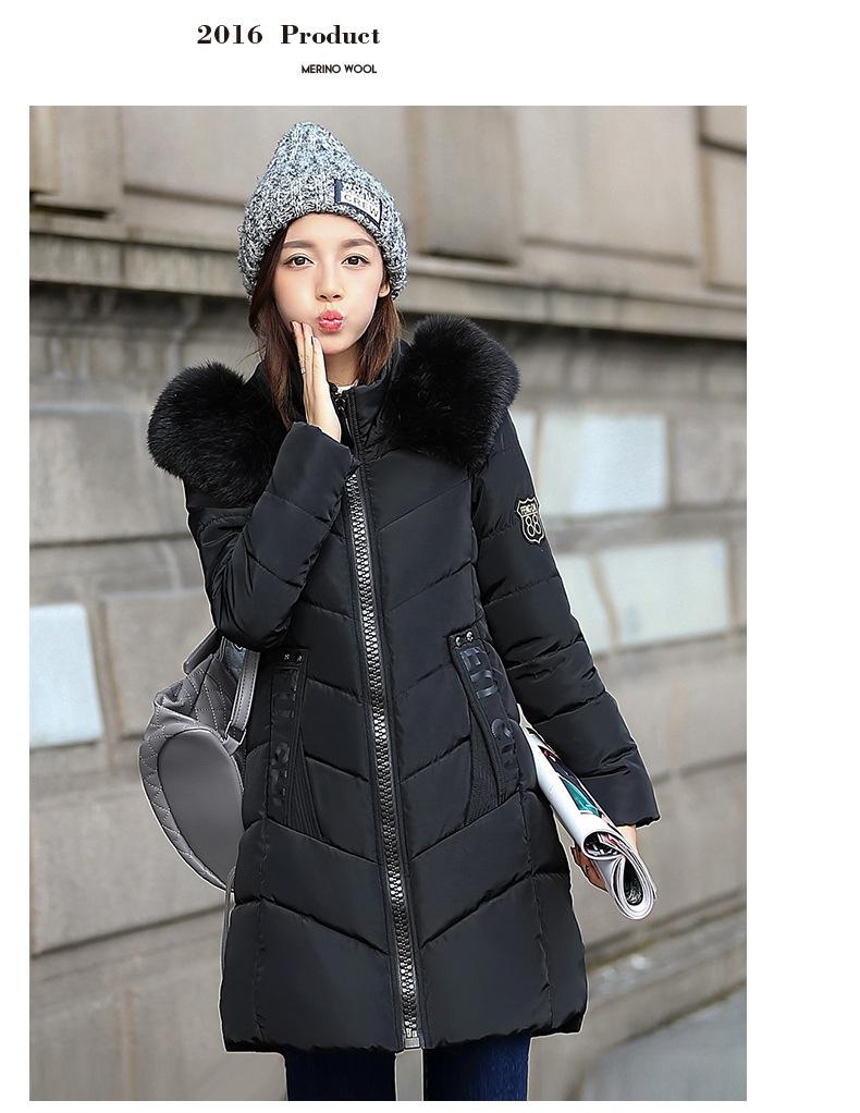Скидки на Европейское женское зимнее пальто в длинный абзац слово толстые хлопка парки с капюшоном 2016 горячие продажа меховым воротником Вниз 7861