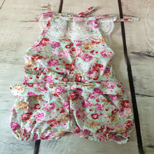 Little Girl Bubble short Romper ,Floral backless halter bubble romper ,shabby chic summer baby playsuit ,1pc Toddler Swag romper