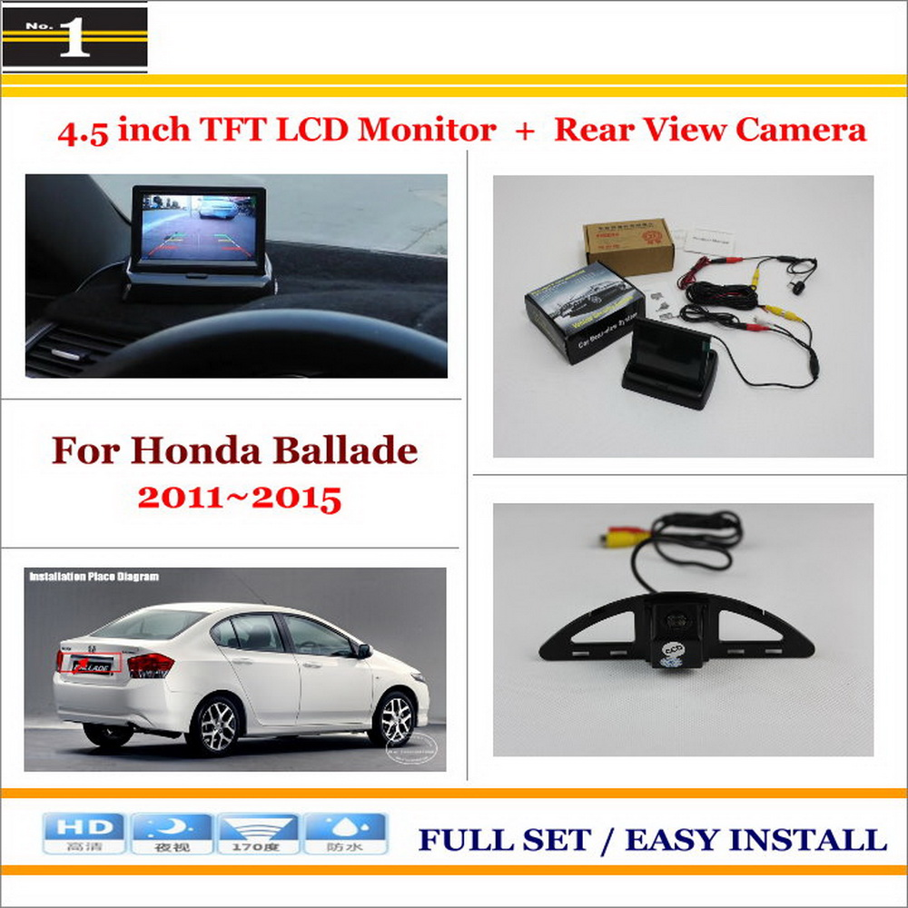 "For Honda Ballade 2011~2015 / Car Reverse Rear Camera + 4.3"" TFT LCD Monitor = 2 in 1 Parking System(China (Mainland))"