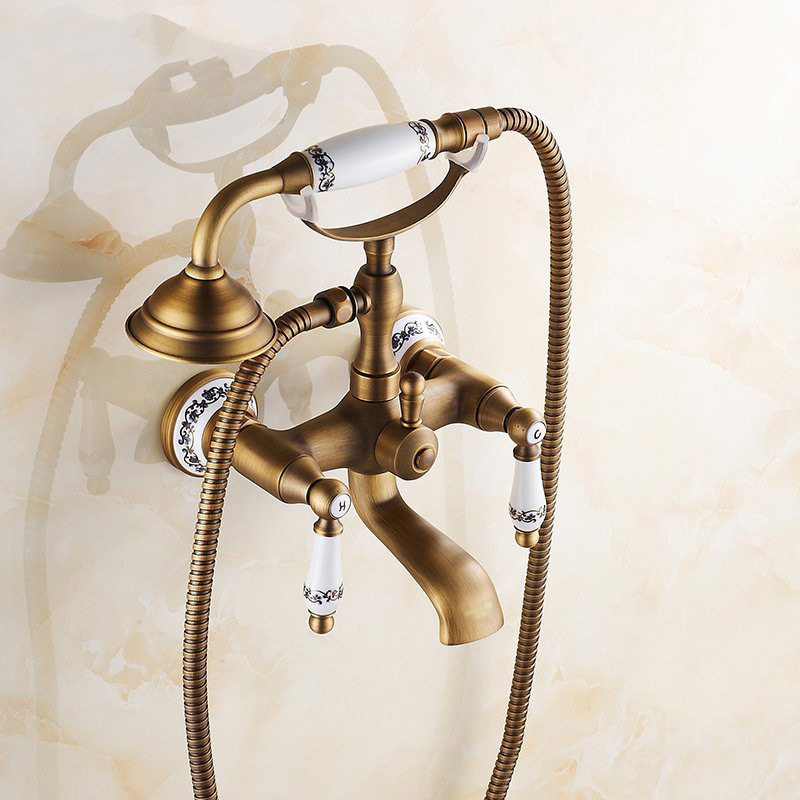 European wide antique copper still warm rain shower faucet for Copper in shower water