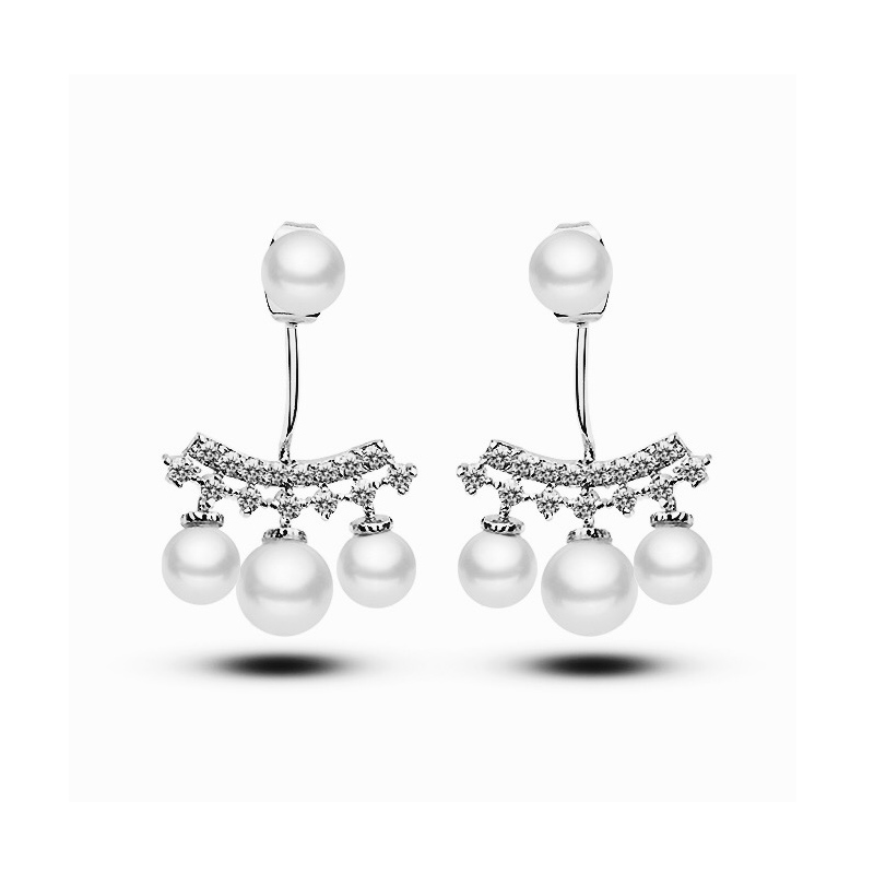 Fashion Jewelry Cubic Zirconia Cultured Freshwater Pearl Bridal Earring Front And Back Ear Jacket Earrings(China (Mainland))